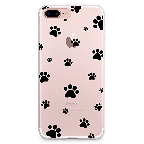 CasesByLorraine Compatible with iPhone 8 Plus/iPhone 7 Plus Case, Cute Pet Paw Prints Pattern Clear Transparent Flexible TPU Soft Gel Protective Cover for iPhone 7/8 Plus 5.5'