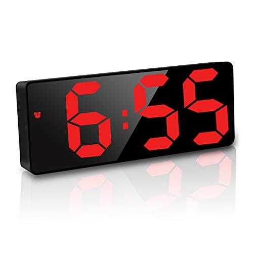 JQGo Reloj Despertador Digital, Pantalla LED Espejo Grande, Alimentado por Batería, Alarma Activada por Sonido, con Pantalla de Fecha y Temperatura Función Despertado, Rojo