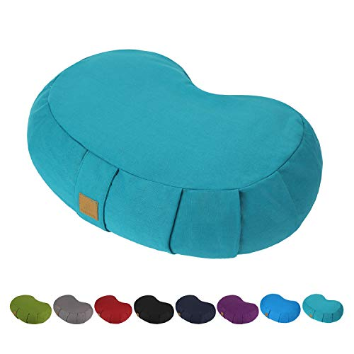 FelizMax Crescent Zafu Meditation Pillow, Zabuton Yoga Bolster, Meditation Cushion, Floor...