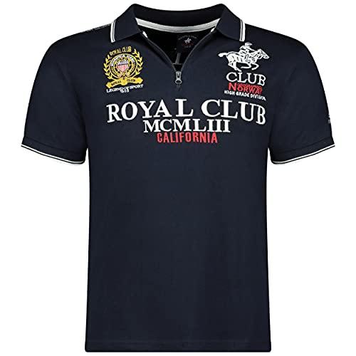 Geographical Norway KERATINE Men - Polo Shirt Uomo Stampato - Cotton Zip Collare Maniche Corte Uomo - Casual Shirt Tops Regular Fit Style Classic Blu Marino M