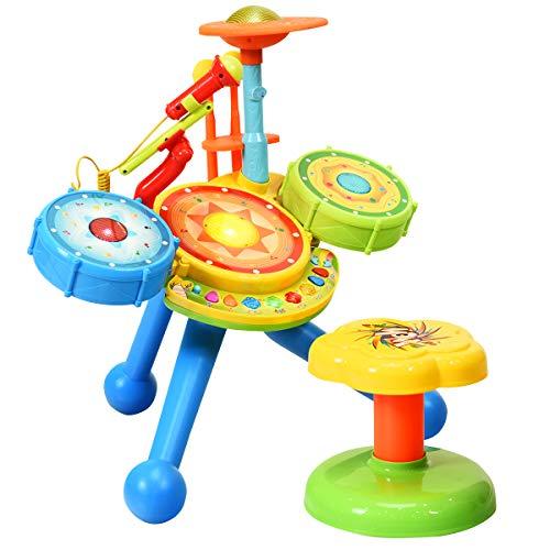 COSTWAY Kinder Trommel Set mit Sitzhocker, Kinder Schlagzeug Set mit Lichter, Musikinstrumente Spielzeug inkl. 2 Drumsticks und 1 Mikrofon, Elektrische Trommel für Kinder ab 3 Jahre