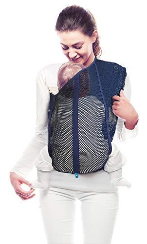 Wallaboo Porte Bébé Balance/Ergonomique - Fabriqué en Coton Élastique - Porte Bébé Jusqu'à 15 kg - Taille Unique - Bleu