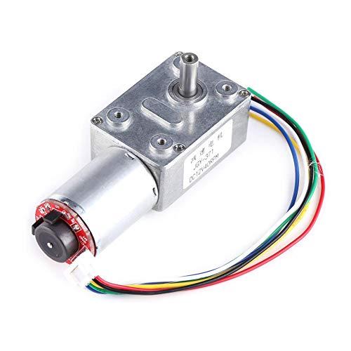 Motor de reductor reversible de 12 V, motor eléctrico turbina, motor de par alto CC 12 V CW/CCW, motor de rosca sin fin, con Encoder Encodificador autobloqueante (40 rpm)