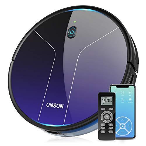 ONSON WLAN Saugroboter, J20C Starke Saugkraft Staubsauger Roboter mit Intelligenter Navigation,Selbstaufladung Staubsaugroboter 2100pa,Kompatibel mit App/Alexa für Tierhaare,Teppiche,Hartböden
