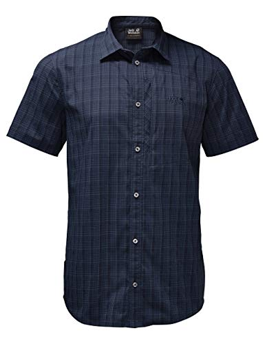 Jack Wolfskin Herren Hemd Rays Stretch Vent Shirt Men, Night Blue Checks, XL, 1401552-7881005