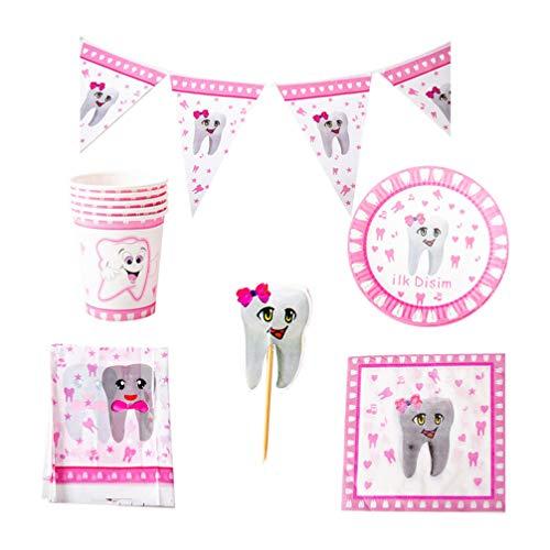 PRETYZOOM 42-teiliges Zahn-Mottoparty-Zubehör-Set, Einweggeschirr, Tischdecke, Servietten, Partyzubehör für Mädchen, Kinder, Geburtstag, Babyparty