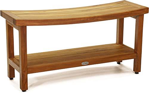 AquaTeak Patented 36″ Sumba Teak Shower Bench with Shelf