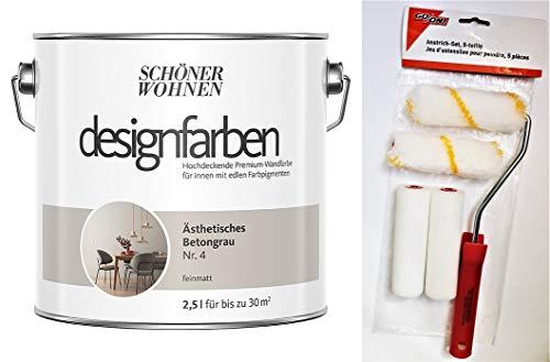 Schöner Wohnen designfarben feinmatte Wandfarbe für innen 2,5 Liter mit go/on Rollen-Set 5-tlg (Nr 4 Ästhetisches Betongrau)
