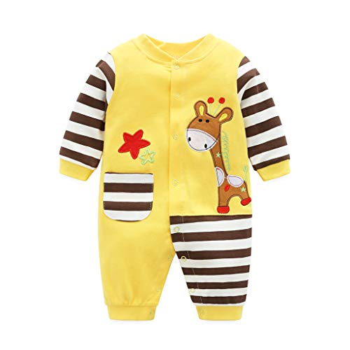 Baby bomull sparkbyxor overall pojkar flickor långärmad kläder nyfödd karikatyr tryck jumpsuit, e, 0-3 Månader