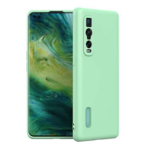 FUNMAX+ Oppo Find X2 Pro 5G Hülle Case, Silikon Handyhülle mit [Schutz für Kamera] [Faser-Innenraum] Anti-Scratch Dünn Schutzhülle Stoßfest Cover für Find X2 Pro (Grün)