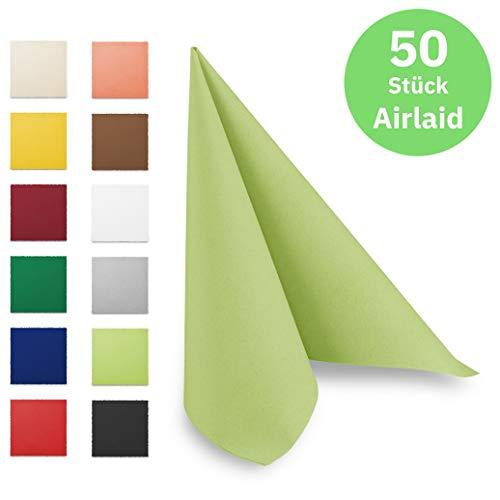 Hypafol Airlaid-Serviette lime | 50 St. | unterschiedliche Farben für jeden Anlass | 40 x 40 cm | abgestimmt auf Einrichtung & Dekoration | für Gastronomie und Zuhause | hochwertiges Material