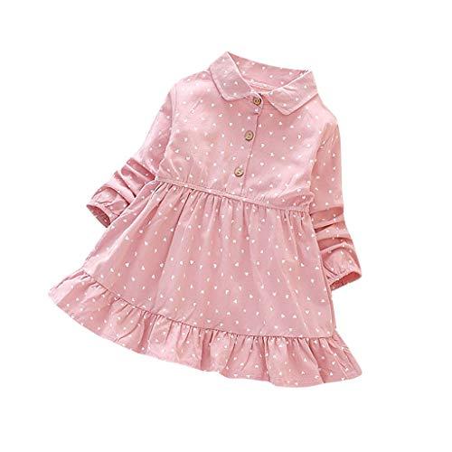Baby Mädchen Kleid Liebe Herze Punkt Kleider Festliches Freizeit Kleid Lange Ärmeln Knopf Revers Prinzessin Kleid Kinder Rock Spitzenkleid Frühling Sommer, 1-5 Jahre, Rot Gelb Rosa