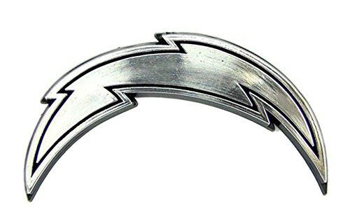 Team ProMark Los Angeles Chargers Silver Chrome Color Raised Auto Emblem Die Cut Decal Football