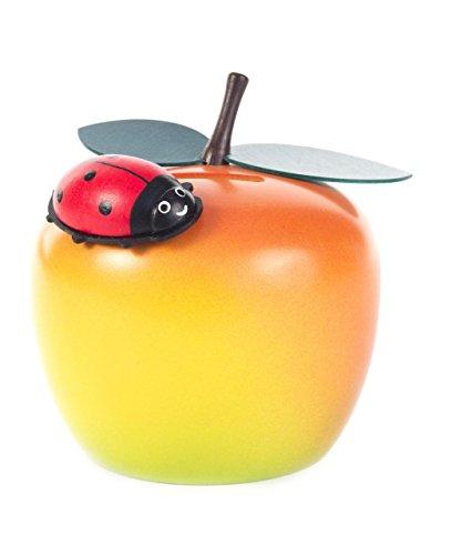 Spardose Apfel mit Käfer von DREGENO SEIFFEN 9 cm – Original erzgebirgische Handarbeit, Geschenk für Kinder aus Holz