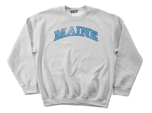 Maine Black Bears 50/50 Blended 8-Ounce Vintage Arch Crewneck Sweatshirt, Medium, Sport Grey