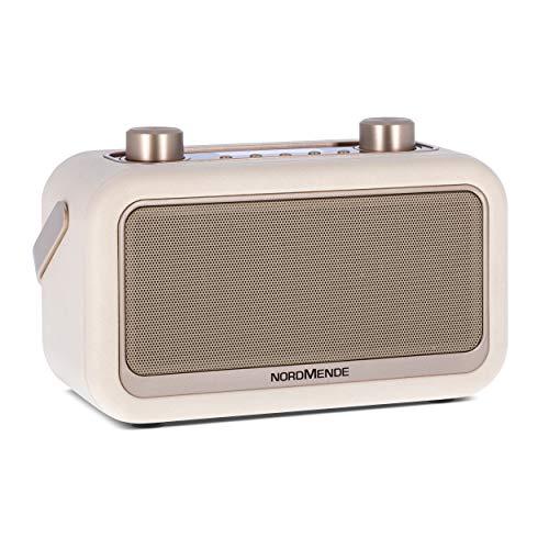Nordmende Transita 30 - portables Digitalradio (DAB+, UKW, Bluetooth-Audiostreaming, Wecker, Uhrzeit, Favoritenspeicher, LCD Display, Kopfhöreranschluss, 2 x 3 Watt Stereolautsprecher) beige