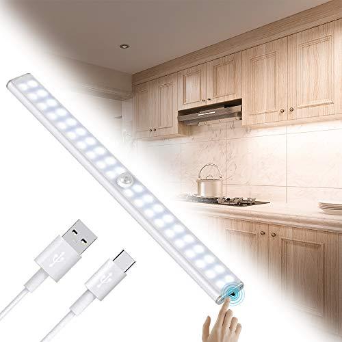 Luz Armario 40 LED,USB Recargable Luces LED Armario con Sensor Movimiento,3 Modos Lámpara LED de Armario con Tira Magnética,para Armario, Cocina,Escalera, Pasillo (Blanco)