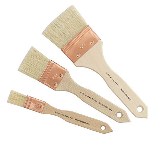 Lasurpinsel Künstlerpinsel Set ( Breite 60 mm, 40 mm, 20 mm) repino® Borstenpinsel Grundierpinsel Firnispinsel Künstler Pinselset für Acryl Öl