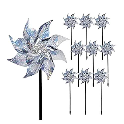 SSXPNJALQ 10 unids jardinería Molino de Viento al Aire Libre a Prueba de Aves Spinner de avión Repelente de Aves Dispositivo Reflectante casa jardín decoración Accesorios (Color : Windmill 10cps)