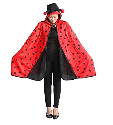 Marienkäfer-Kostüm als Umhang, An82, Einheits-Größe für alle Männer und Frauen! Marienkäfer-Kostüme Marien-käfer als Faschings- Karnevals- Fasnachts-Geschenk, Gruppen-Kostüme für Erwachsene