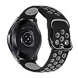 iBazal 22mm Correa Galaxy Watch 46mm Pulsera de Repuesto para Samsung Galaxy Watch 3 45mm/Gear S3 Frontier Classic, Huawei Watch GT/GT 2 46 mm, Ticwatch Pro/E2/C2 Banda de Silicona - Negro/Gris