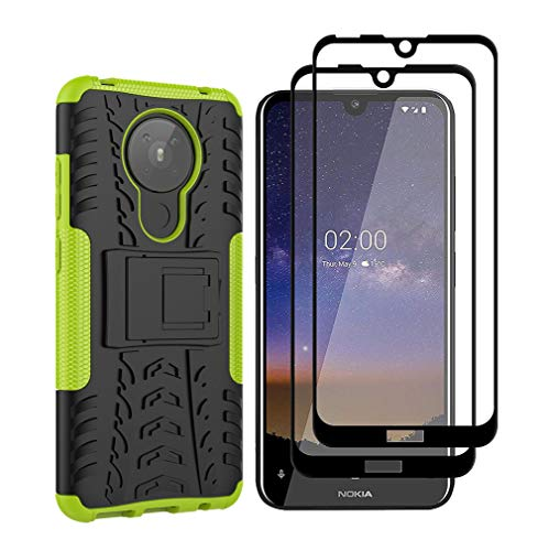 HAOTIAN Hülle für Nokia 5.3 Hülle + 2 Panzerglas, Rugged TPU/PC Hybrid Armor Schutzhülle, Anti-Scratch PC Rückwand Schale + Intern Stoßfeste TPU + Faltbarer Halterungen Handyhülle. Grün