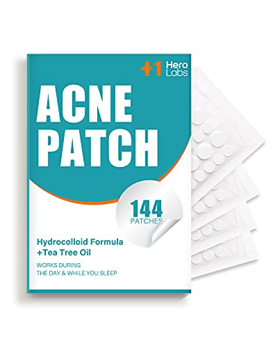 Acne Pimple Patch, HeroLabs Hydrocolloid Acne Patch with Tea Tree Oil (144 Count), Invisible Acne Spot Treatment, Zit Patch, Blemish Cover, Two Sizes, Vegan, Cruelty Free