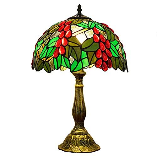 Tiffany Estilo Lámpara De Mesa Lámparas De Escritorio Victorian Crystal Bead Uvas Rojas Hojas Verdes Base De Aleación Luz De Mesita Noche Para Dormitorio Amante Cabecera,Green button