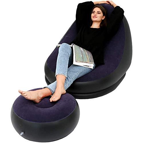 XUE-SHELF Aufblasbare Freizeit Sofa, Stuhl und Fußbank Außen Folding Lounger Sofa Beflockung Faule Couch (braun, blau, rot),Blau