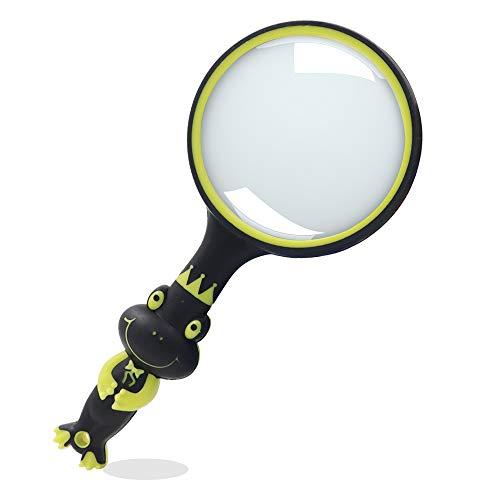 Lupe in Froschform, 5-fache Vergrößerung, bruchsicher, handliche Leselupe für Kinder, 75 mm Handlupe Leselupe für Hobby-Beobachtung (schwarz gelb)