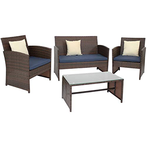 Sunnydaze Ardfield 4-Piece Outdoor Patio Conversation Furniture Set - Loveseat, Chairs and Coffee Table - Backyard Seating with Pillows - Mixed Brown Rattan with Navy Cushions