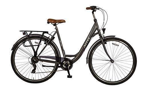"28"" 28 Zoll Damen Mädchen City Trekking Fahrrad Rad Bike Damenrad Cityfahrrad Citybike Damenfahrrad Cityrad 7 Shimano Gang Beleuchtung ALTEC Metro 55 cm SCHWARZ"