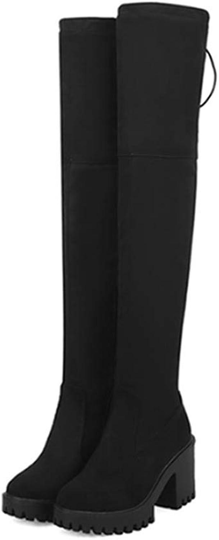DOSOMI Women's Stretch Over The Knee Thigh High Antiskid Zipper Round Toe Platform Winter Boots