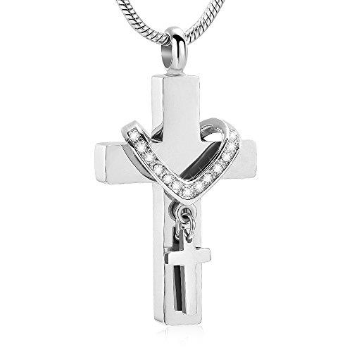 Stainless Steel Cross Memorial Cremation Ashes Urn Pendant Necklace Keepsake Jewelry Urn