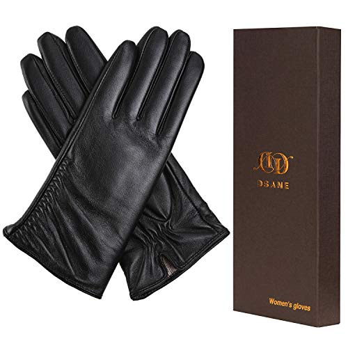 Womens Winter Leather Touchscreen Texting Warm Driving Lambskin 100% Pure Genuine leather Gloves (Black, 7 M)
