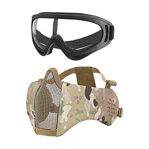 MGFLASHFORCE Airsoft Mask and Goggles, Airsoft Face Mask Steel Mesh Mask Half Face Protection (Ear Protection - CP)