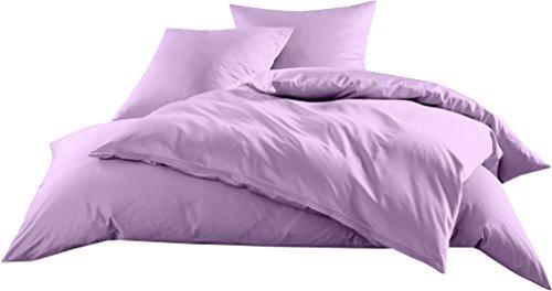Mako-Satin Baumwollsatin Bettwäsche Uni einfarbig zum Kombinieren (Bettbezug 135 cm x 200 cm, Flieder) viele Farben & Größen