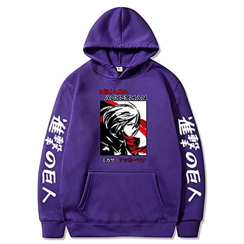 GPUI Ataque de Anime en Titan Hoodie, encuesta Corps Hoodie Pullover Sudadera con Capucha Colorblock Sudadera con Bolsillo purple1-4XL