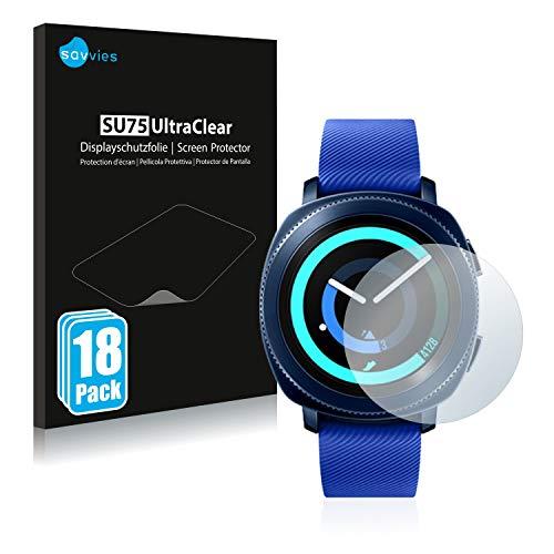 Savvies 18x Schutzfolie kompatibel mit Samsung Gear Sport Displayschutz-Folie Ultra-transparent