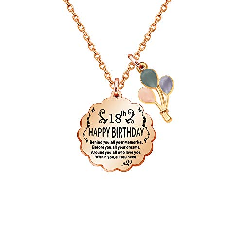 Tibond Birthday Neckalce 13th 16th 18th 20th 21st 30th 40th Age Inspirational Necklace for Daughter Sisiter Mother Niece Aunt Friend (18th)