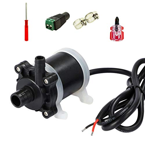 VANSUNA 12V Water Pump Submersible Quiet Small Fountain Pump Suitable for Aquarium Fish Tanks, Aquaponics, Garden Fountain 200GPH 740L/H 0.59in 24W