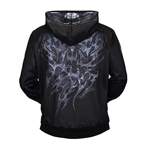 Beyond_AV Men Gothic Skull Fashion Sweatshirts 3 Digital Print Tops Hoodies (1, XXL)