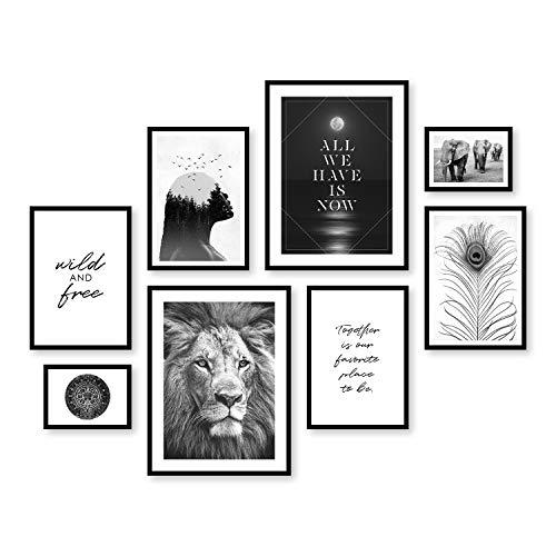 ARTFAVES Poster Set - Wildlife | Deko Tiere schwarz-weiß | 8 Moderne Wandbilder Premium Mix | 30x40-21x30-13x18 | Bilder Wohnzimmer, Schlafzimmer | ohne Rahmen