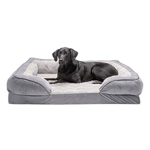 Furhaven Orthopedic Pet Bed for Dogs and Cats - Plush Velvet Waves Perfect Comfort Sofa Dog Bed with Removable Washable Cover, Granite Gray, Jumbo (X-Large)