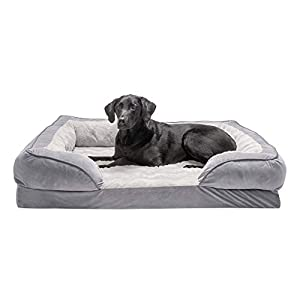 Furhaven Pet Dog Bed – Orthopedic Plush Velvet Waves Perfect Comfort Traditional Sofa-Style Living Room Couch Pet Bed with Removable Cover for Dogs and Cats, Granite Gray, Jumbo