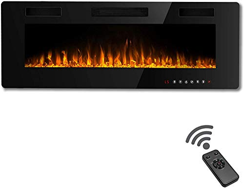 Waleaf 50 inch Electric Fireplace Recessed Electric Fireplace Wall Mounted Fireplace Heater with Multicolor Flame Flush Mount Linear Fireplace Wall Insert Fireplace with Remote Control Touch Screen