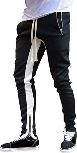 [サン ブローゼ] 5カラー トラックパンツ ファスナー付き スリム スエット ジャージ スポーツ トレーニングウェア トレーニングパンツ ジョガーパンツ ラインパンツ スウェットパンツ スエットパンツ ロングパンツ スウェット メンズパンツ スポーツウェ
