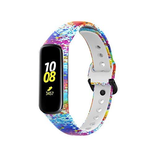 KOMI Correas compatibles con Samsung Galaxy Fit 2 SM-R220, silicona suave para deportes de fitness bandas de repuesto de relojes inteligentes (pintura)