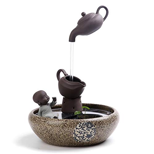 Indoor Chinese Style Water Fountain Room Decoration Decoration Feng Shui Lucky Office Ceramic Teapot Fish Tank Humidifier 2943cm