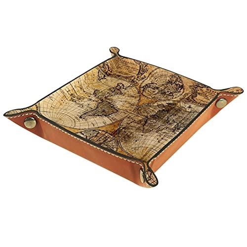 Bandeja de cuero para hombres y mujeres, organizador de escritorio personalizado para joyas, cosméticos, gafas, auriculares, oficina, uso en el hogar, mapa antiguo